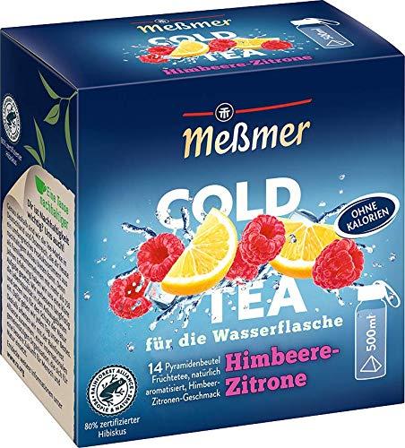 Meßmer Cold Tea Himbeere-Zitrone  Für die Wasserflasche   ohne Zucker   ohne Kalorien   Alternative zu zuckerhaltigen Getränken wie Limonade oder Saft   14 Pyramidenbeutel