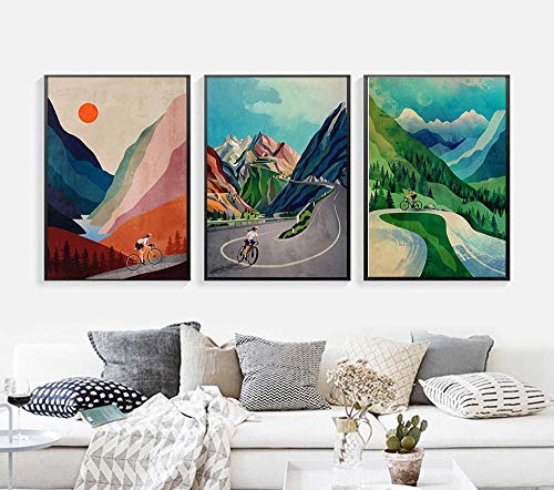 OCRTN Bicycle Art Cycling Ascending In Mountains Canvas Painting Motivational Wall Art Pictures Bike Prints Posters Gift Kids Room Decor/40x60cmx3 No Frame