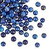 OLYCRAFT 96 pz 8 mm Naturale Lapislazzuli Perline Blu Roccia Perline Fili Rotondi Sciolti Perline Pietra Preziosa Pietra Energetica per Braccialetto Collana Creazione di Gioielli