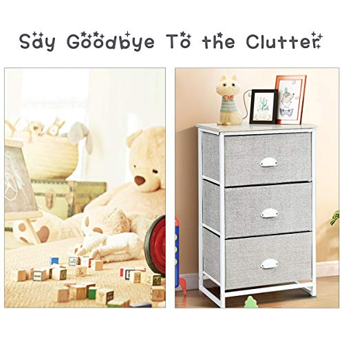Giantex Dresser Storage Tower Nightstand W/Fabric Drawers, Sturdy Steel Frame and Wood Top Organizer Unit for Bedroom, Living Room, Entryway,Closets End Table Storage Unit (29''(H), White)