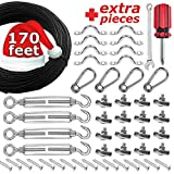 SMART RSQ The Complete String Light Hanging Kit with 170 FT Coated Stainless Steel Cable. Heavy-Duty & Easy to...