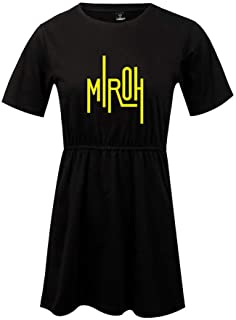 FEIRAN Stray Kids Mujeres Imprimir Vestido Manga Corta niña O-Cuello Camiseta Vestidos Black B S