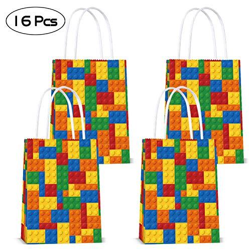 Hooggle Bloques de construcción Goodie Candy Party Bolsas de Regalo para Ladrillos de Color Tema Building Block Party Supplies, Lego Party Supplies para niños Decoración de Fiesta de cumpleaños