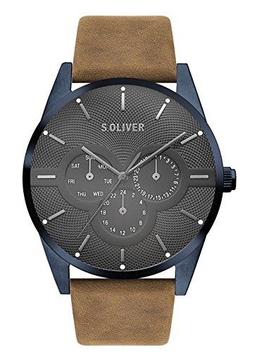 s.Oliver Herren Multi Zifferblatt Quarz Armbanduhr mit Lederarmband SO-3571-LM