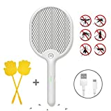 X Home Electric Fly Swatter Racket with Led Light Kill Mosquito Fruit Fly, USB Recharge Bug Zapper with 3-Layer Safety...