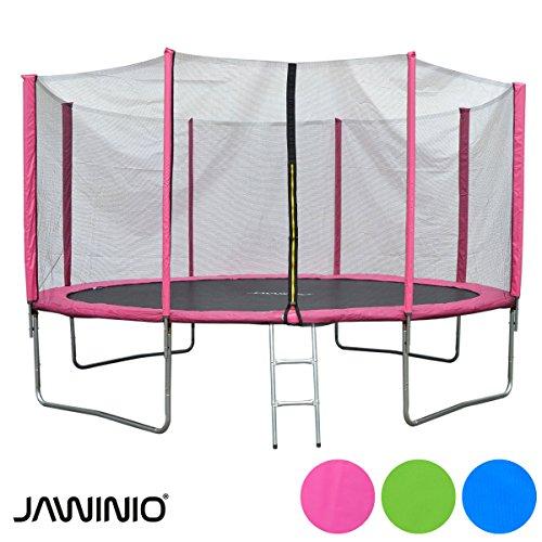 Jawinio Trampolín 425cm (L750D-14F) Trampolín de Jardín Jumper Set Completo, Incluye Escalera, Red de Seguridad y Salto Matte Rosa