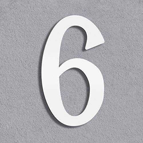 Thorwa® moderne Design Edelstahl Hausnummer Cabaletta, weiß pulverbeschichtet, H: 160mm, RAL 9003 (6)