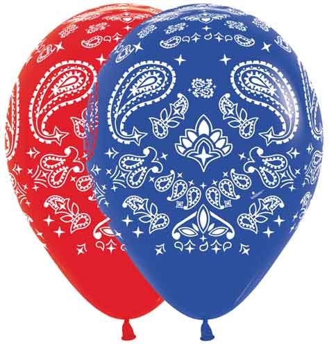 "11"" Bandana Assortment (Cowboy or Western) Latex Balloons - Bag of 10"