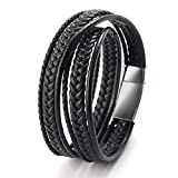 Männer Armband Leder Armreif schwarz Lederband für Herren, geflochten Echtleder Breites Lerderarmband Wickelarmband mit Magnet Verschluss (Wickelarmband)