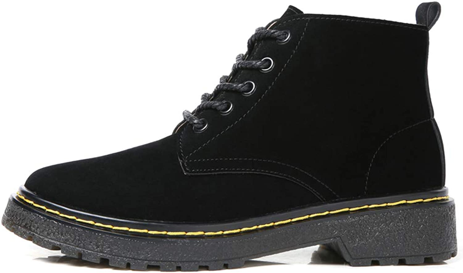 Hoxekle Ankle Boots Low Heel Suede Waterproof Lace Up Slip On Martin Style Winter Casual Outdoor Boot