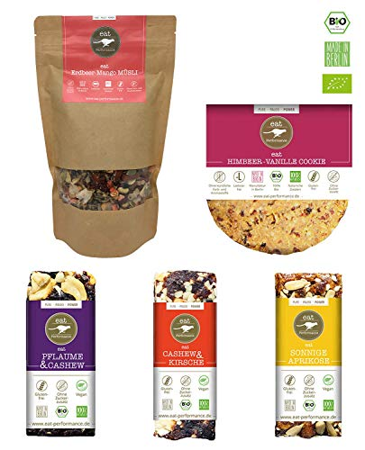 eat Performance® Kickstarter Box (3x Riegel, 1x Sommer Müsli, 1x Cookie) - Bio, Paleo, Glutenfrei, Laktosefrei, Milchfrei, Ohne Zuckerzusatz, Aus 100% Natürlichen Zutaten