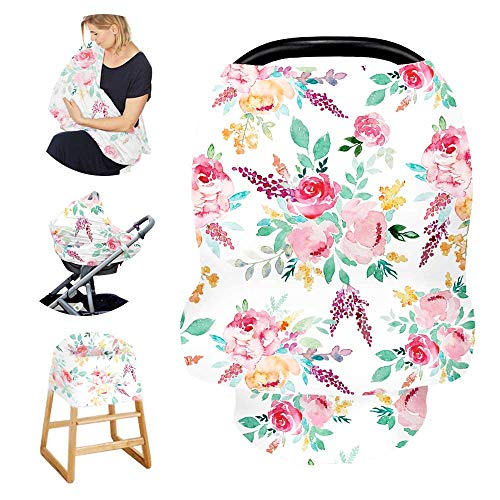 Stretchy Baby Car Seat Cover for Baby Boys and Girls,Multiuse - Nursing Breastfeeding Covers,Shopping Cart/High Chair/Stroller Covers,Infinity Scarf,Car Seat Canopies(Watercolor Flower)