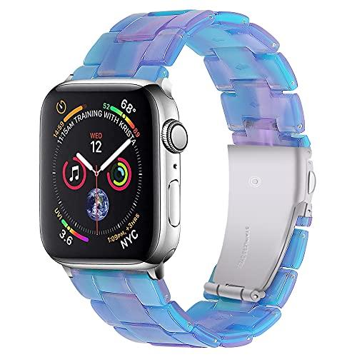 CHENPENG Correa de Resina Compatible con Apple Watch, Pulsera de Repuesto para Mujer y Hombre, Correa de Reloj de Resina de Moda con Hebilla de Acero Inoxidable,1,38mm