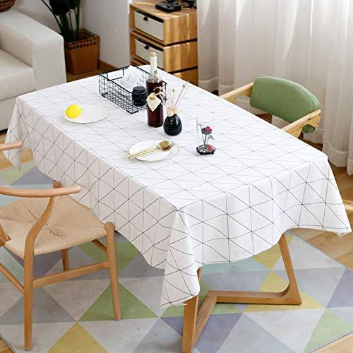 Viner Modern Square Plaid Zwart-wit Tafelkleed Doek Katoen Linnen Tafelkleed, Wit, 100 cm x 160 cm