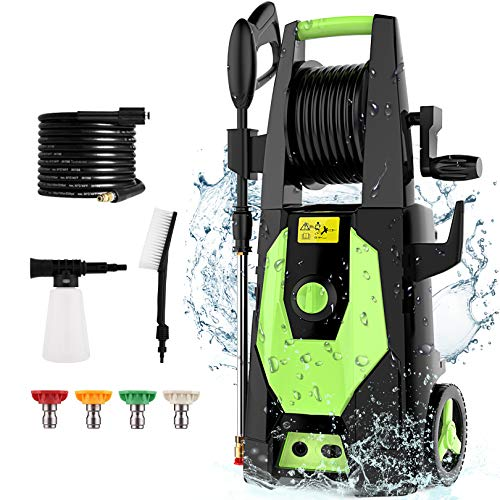 mrliance 3600PSI 2.4GPM Electric Pressure Washer Power Washer 1800W High Pressure Washer Cleaner Machine with Hose Reel and 4 Adjustable Nozzle (Green)