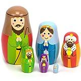 Nesting Nativity Scene - 6 Stackable Wooden...