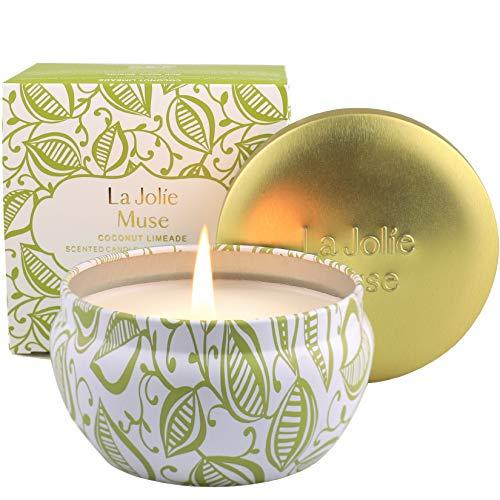 La Jolíe Muse Vela perfumada de limonada de coco, vela de cera de soja natural, 45 horas de combustión prolongada, fragancia para el hogar, lata, 185g