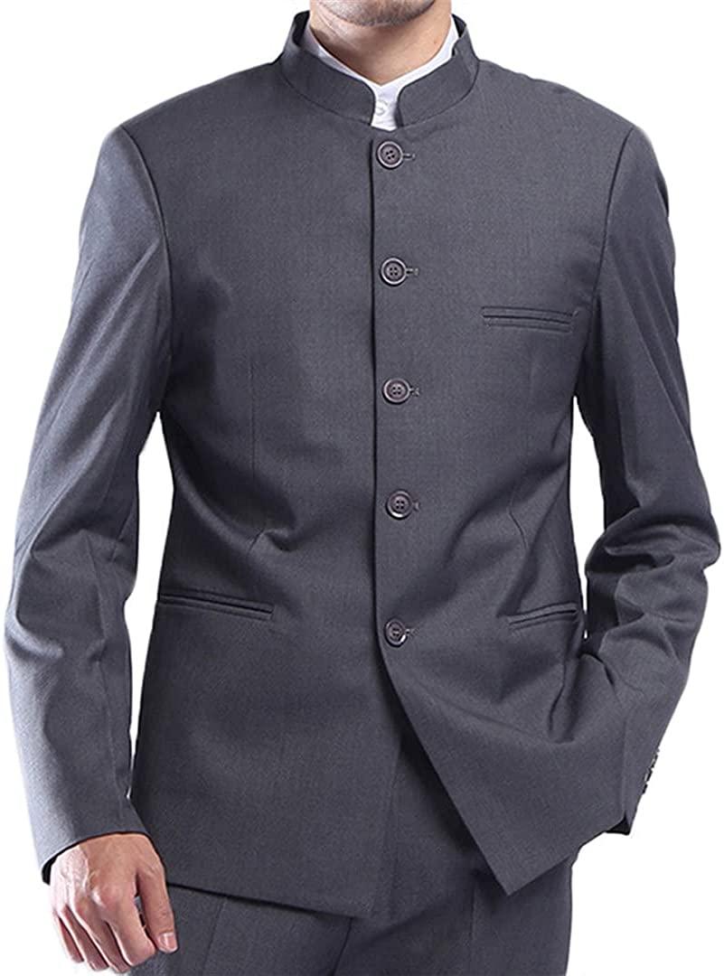 Men Tunic Suit Jacket Mandarin Stand Collar Single Breasted Traditional Chinese Style Male Outerwear