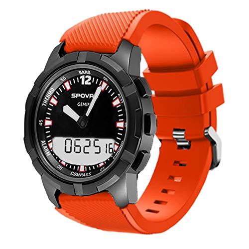 SPOVAN Bluetooth Reloj Inteligente Función de brújula Altímetro Pantalla Doble Movimiento mecánico Reloj multifunción Espera Larga,Orange