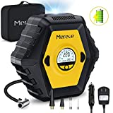 Merece Air Compressor Tire Inflator - Portable Air Compressor 12V Cordless Car Tire Pump, Electric Auto Stop Air Pump Rechargeable Tire Inflator with Pressure Gauge Built-in Battery 150PSI MAX