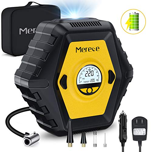 Merece Air Compressor Tire Inflator  Portable Air Compressor 12V Cordless Car Tire Pump Electric Auto Stop Air Pump Rechargeable Tire Inflator with Pressure Gauge Builtin Battery 150PSI MAX