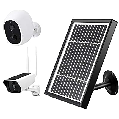 Solar Panel Only Compatible with 5V Wireless Security Camera?Adjustable Secure Wall Mount Waterproof IP66, 9ft USB Power Charging Cable, 5 V/5W (Max) Output, Triple Battery Protection?No Camera?