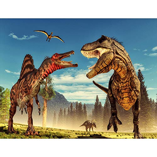 Runa Art Fototapete Kinderzimmer Dinosaurier Modern Vlies Wohnzimmer Schlafzimmer Flur - made in Germany - Bunt 9481010a