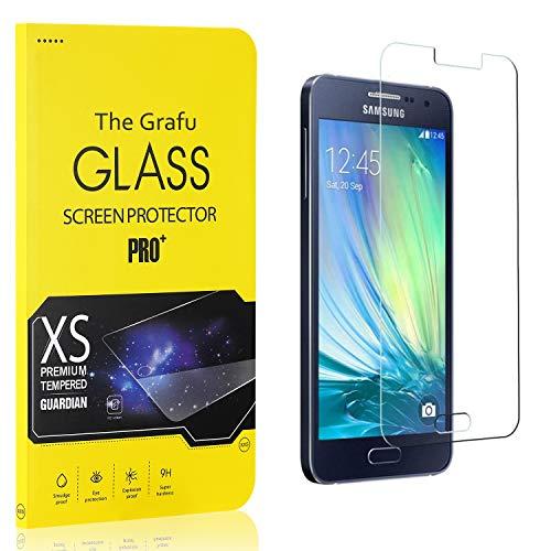 The Grafu Vetro Temperato Compatibile con Galaxy A3 2015, Alta Trasparenza, Nessuna Bolla, Durezza 9H Pellicola Protettiva in Vetro Temperato per Samsung Galaxy A3 2015, 3 Pezzi
