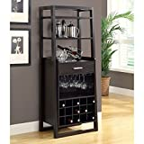4 Fixed open shelves Suspended stem glass holder with wide openings for stems Bottle storage for up to 15 bottles 1 Storage drawer for bar accessories Hang up to 8 wine glasses. WEIGHT CAPACITY: 150 lbs