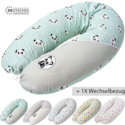 Öko-Tex XXL Stillkissen mit EPS-Mikroperlen + extra Stillkissenbezug | Schwangerschaftskissen Lagerungskissen Made in Germany | von Sei Design (Panda-Mint-Klickverschluss)