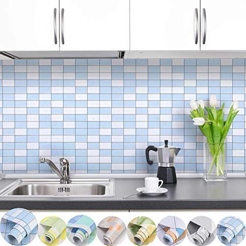 iKINLO Fliesen Folie Selbstklebende Fliesenaufkleber Mosaik Klebefolie 0.61 * 5M DIY PVC Küchenrückwand Tapete für Küchen Bädern Wand Dekorfolie