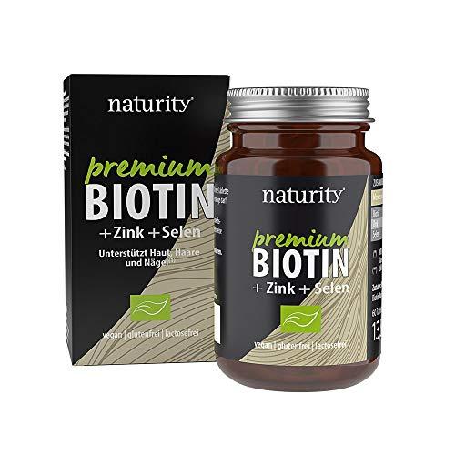 PREMIUM BIOTIN + Zink + Selen, hochdosiertes Biotin plus Zink und Selen, für Haut, Haare und Nägel, zur Unterstützung des Immunsystems (60 Tabletten)