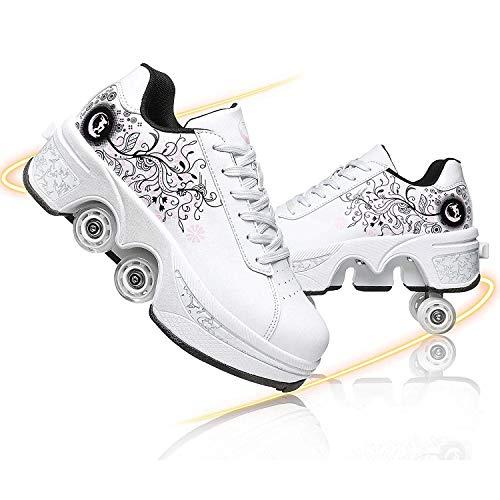 FUYY Patines En Línea, Zapatos Multiusos 2 En 1, Botas De Patines De Cuatro Ruedas Ajustables, White 1-38
