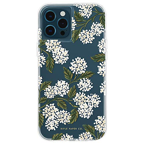Rifle Paper Co - Case for iPhone 12 and iPhone 12 Pro (5G) - 10 ft Drop Protection - 6.1 Inch - Hydrangea White