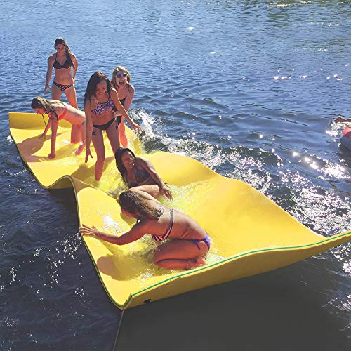 Max4out Floating Mat 12X6 Recreational Floating Foam Pad Adults Kids (Yellow) Lily Pad Used in Ocean Lake