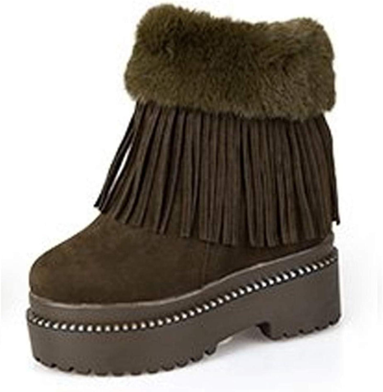 YSFU Stiefel Frauen Schneeschuhe Warme Dicke Sohle Versteckte Ferse Ferse Ferse Stiefel Damen Stiefelies Flache Anti Slip Schuhe Casual Herbst Winter Outdoor  9accde