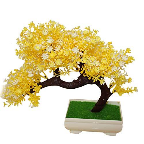NAttnJf 1 Unid En Maceta Planta Artificial Mini Árbol Bonsai Jardín de DIY Wedding Home Party Oficina Hotel Decoración Yellow