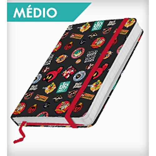 Caderneta de Anotação Looney Tunes Buttons Fundo Preto 100 Folhas - 21x14,8 cm