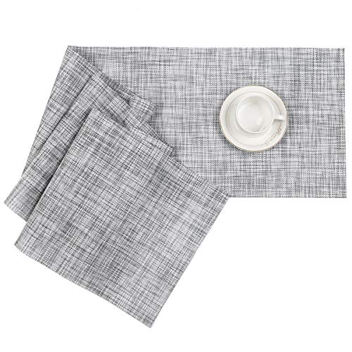 Pauwer Camino de Mesa de PVC para Cocina Camino de Mesa Lavable Resistente al Calor Antideslizante (30 * 180 cm, Gris/Blanco)
