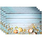 """Disposable Beach Seashell Starfish Paper Place Mats 50 Pack 11""""x 17"""" Rectangle Summer Nautical Chargers Place mat for Blue Sky Ocean Seaside Sand Wood Sea Shell Coastal Table Mat Dinner Party Decor"""