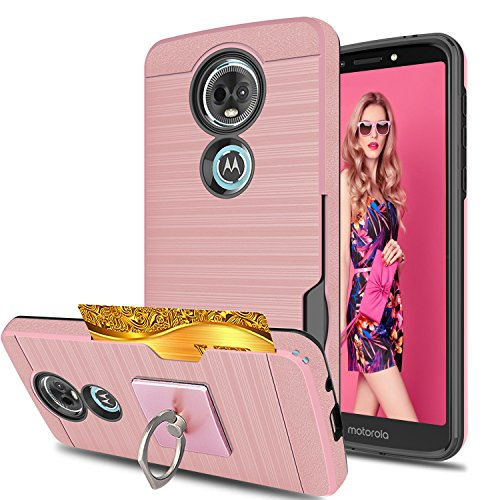 Moto E5 Plus/Moto E5 Supra Phone Case with Phone Stand,Ymhxcy [Credit Card Slots Holder][Brushed Texture] Dual Layer Shockproof Protective Cover for Motorola E Plus (5th Generation)-LCK Rose Gold