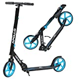 Apollo XXL Wheel Scooter - Phantom Pro City Scooter, Foldable Street Scooter, Height Adjustable Handle, 2 Big Wheels, Kick Scooter for Adults and Children, 220lbs Capacity - Blue