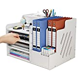 simfort Desk Organizer and Accessories with Tissue Box/4 Trays/2 Sections/File Racks/Pen Holder,Office Desktop Organizer for File Holder/A4 Paper/Ducument/Notebook,Office File Organizer for Home (A)