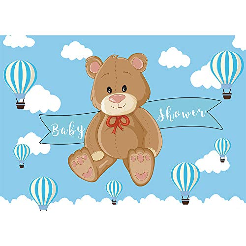 Allenjoy 7X5ft Cartoon Bear Baby Shower Backdrop Infant Newborn Baby Its a Boy Prince Welcome Baby Blue Hot Air Balloons Photography Background Cake Table Banner Decorations Photo Booth Props