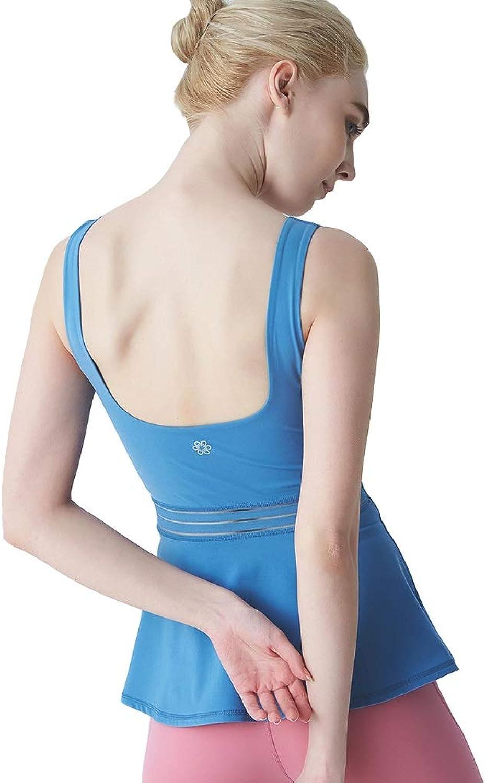Yoga Kleidung, Sportunterwsche Frauen, stofestes Laufen mit hoher Intensitt, Fitness-Schnheit mit hoher Intensitt zurück (Farbe   Blau, Größe   L)