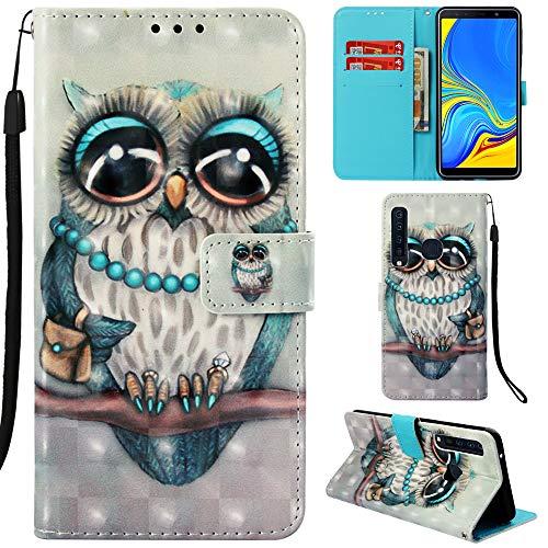 Ooboom Samsung Galaxy A9 2018 Hülle 3D Flip PU Leder Schutzhülle Stand Handy Tasche Brieftasche Wallet Hülle Cover für Samsung Galaxy A9 2018 - Eule Grau