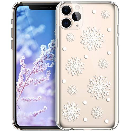 Kompatibel mit iPhone 11 Pro Max Hülle,Durchsichtig mit Xmas Christmas Snowflake Weißen Weihnachten Schneeflocke Hirsch Klar TPU Silikon Hülle Case Handyhülle Tasche Schutzhülle,Weiße Schneeflocke
