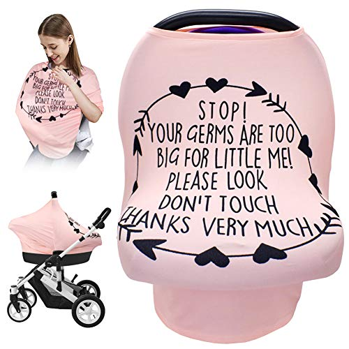 Nursing Breastfeeding Cover, Baby Car Seat Cover Infant Carseat Canopy,Versatile Stroller/High Chair/Shopping Cart/Carrier Covers, Newborn Boys Girls Shower Gift Registry Stuff-Stop No Touching Sign