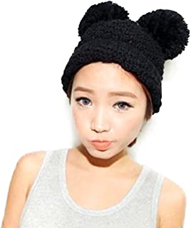 Women's Cute Winter Warm Knit Double Beanie Hat with Pom Pom Ears