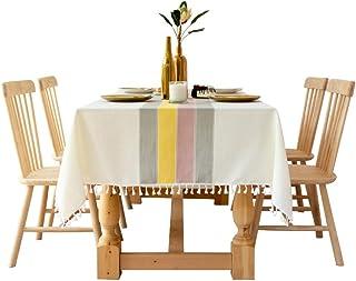 YUANYOU Disegni a Strisce di Moda, tovaglia in Lino Decorativo Solido con Nappe, Copertura per Tavolo da Pranzo Rettangola...